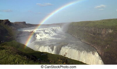 rainbow above gullfoss waterfall