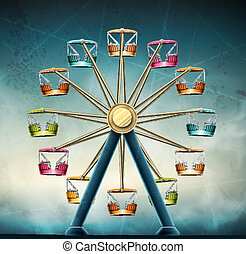 Ferris wheel, vintage grunge background, eps 10