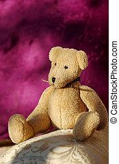 teddy bear - soft toy bear sitting on home furnishings