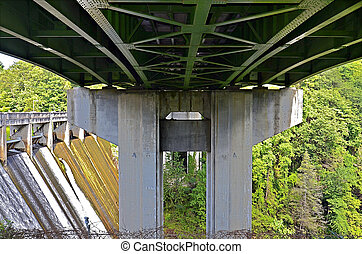 Highway Bridge and Dam - Part of a hiking trail goes under...