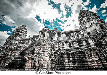 Angkor Wat, Cambodia - Stone murals and sculptures in Angkor...
