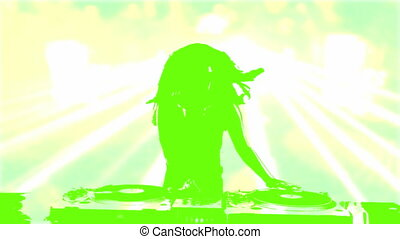Female silhouette DJ mixing on record deck