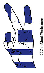 Peace sign of the flag of the Greece