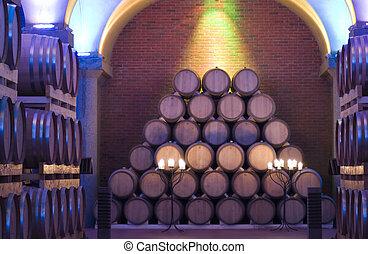 Barrels - Pile of barrels in a cellar