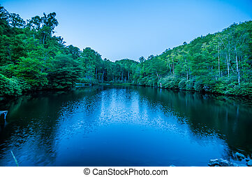 North Carolina Grandfather Mountain Julian Price Memorial Park Lake Blue Hour Reflection