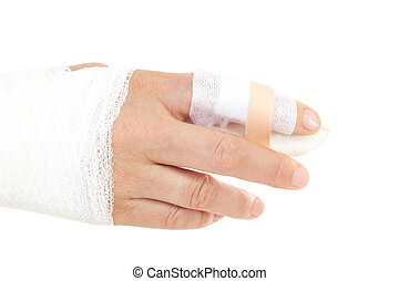 Bandaged hand to prevent infection and improve healing