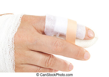 Caucasian person cut the finger
