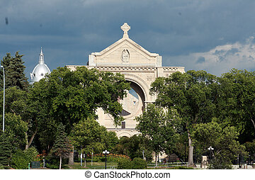 Cathedral in Winnipeg - The brick facade of a Catholic...