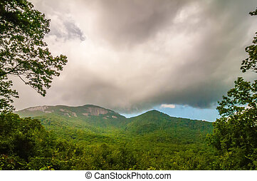 table top mountain with stormy clouds in south carolina -...