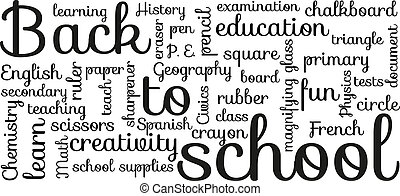 "Back to school typography - Black and white ""Back to school""..."