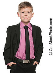 Handsome young boy in black suit - A portrait of a handsome...