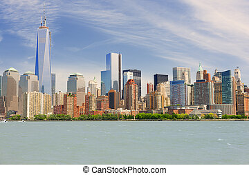 Manhattan in a cloudy summer day - View of Manhattan in a...