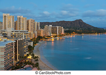 Night view on Honolulu city and Waikiki Beach - Night view...