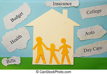 budget family - paper family cutouts with economic concept...