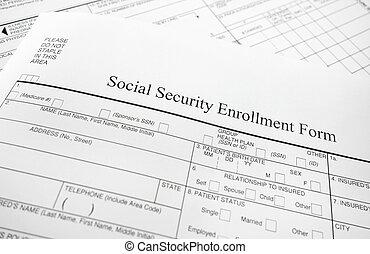 enrollment form - Closeup of a Social Security enrollment...