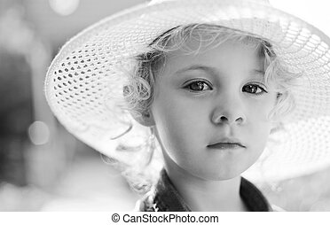Blonde baby girl outdoor Closeup black and white vintage...