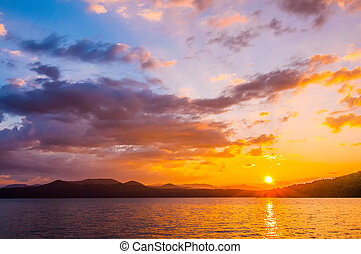 sunrise over lake - nature around upstate south carolina at...
