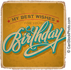vintage birthday card (vector) - vintage birthday card with...