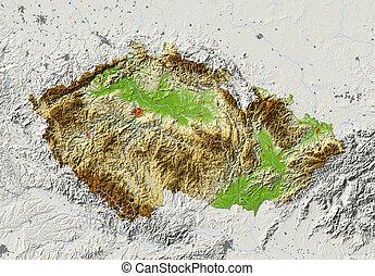 Czech Republic, shaded relief map