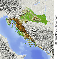 Croatia, shaded relief map - Croatia. Shaded relief map with...