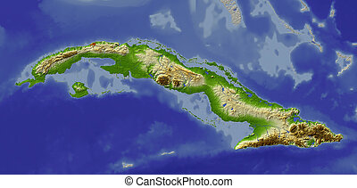 Cuba, shaded relief map - Shaded relief map of Cuba. Shows...