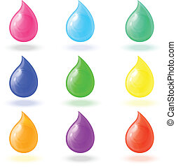 set realistic colorful drops - set realistic colorful shiny...