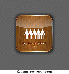 Customer service wood application icons