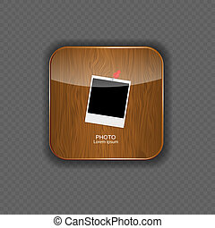 Photo wood application icons vector illustration
