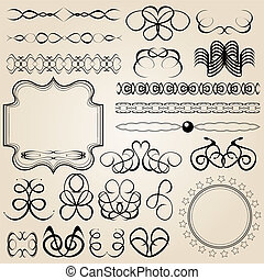 set of vector calligraphic elements