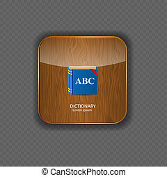 Dictionary wood application icons vector illustration