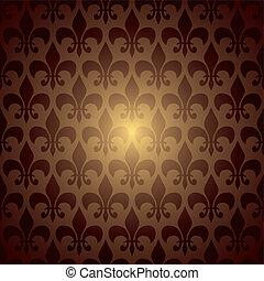 symbol repeat brown - fleur de lis inspired brown and orange...