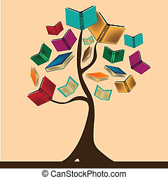 the knowledge tree - a beautiful tree composed by books...