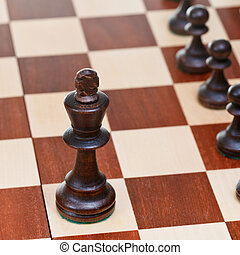 Black chess king in front of pawns