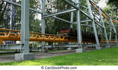 roller coaster - HD1080: roller coaster speeds by. sequence....