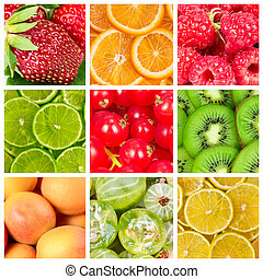 Collage of fresh  fruits