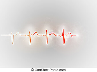 red cardiogram wave on the grey background