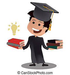 graduation knowledge - a happy young smart boy and its books...