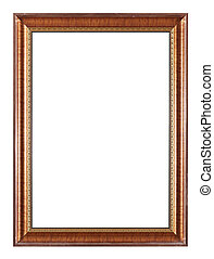 retro brown wooden picture frame on easel