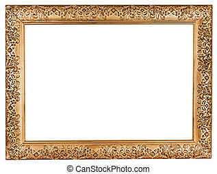ancient baroque wide golden picture frame with cutout canvas...