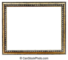 gilded ancient narrow picture frame with cutout canvas...