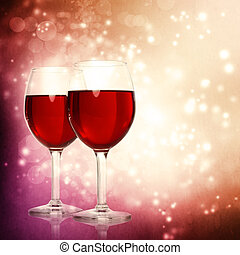 Glasses of Red Wine on a Sparkling Background - Assorted Red...