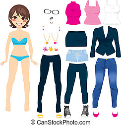 Cute Paper Doll Game - Cute short hair brunette paper doll...