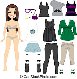Beautiful Paper Doll Girl - Beautiful long hair brunette...