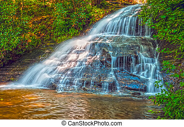 beautiful watrefalls in upstate south carolina in deep...