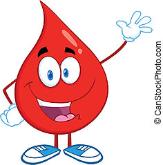 Blood Drop Waving For Greeting - Red Blood Drop Cartoon...
