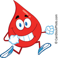 Red Blood Drop Character Running - Red Blood Drop Cartoon...