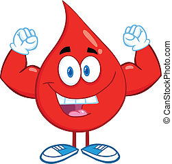 Blood Drop Showing Muscle Arms - Red Blood Drop Cartoon...