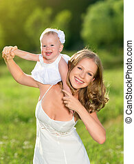 女儿, 自然, 家庭, 母親, 嬰孩, 女孩, 玩, 愉快