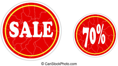 Red sale stickers.