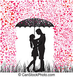 Kissing couple heart rain. Man and woman in love. Valentine...